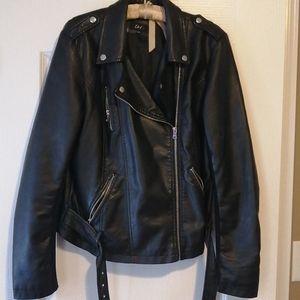 Faux leather moto/biker jacket